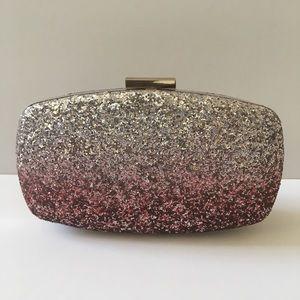 Handbags - Silver and Pink Ombré Glitter Clutch Bag